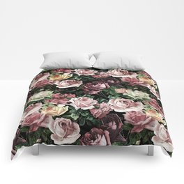 Vintage & Shabby chic - dark retro floral roses pattern Comforters