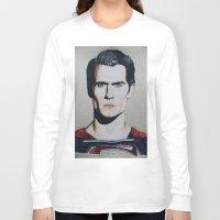 man of steel Long Sleeve T-shirts featuring Superman (Man of Steel) by JMH Art