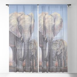 Elephants Mom Baby Sheer Curtain