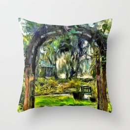 Inviting Backyard Archway Throw Pillow
