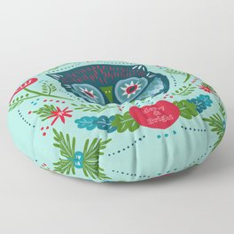 Merry & Bright Owl | Christmas Blue Floor Pillow