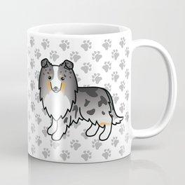 Blue Merle Shetland Sheepdog Dog Cartoon Illustration Coffee Mug