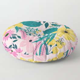 Trendy Girly Yellow Hand Paint Floral Design Floor Pillow