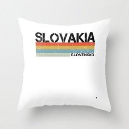 Slovakia- Slovensko Language Retro Vintage Stripes Product Throw Pillow