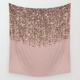 Blush Pink Rose Gold Bronze Cascading Glitter Wall Tapestry