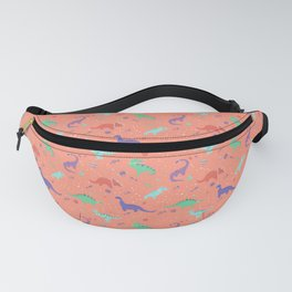 Dinosaurs in Coral Space Fanny Pack