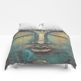 Rusty Golden Copper Buddha Face Watercolor Painting Comforters