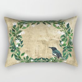 Wreath #White Flowers & Bird #Royal collection Rectangular Pillow