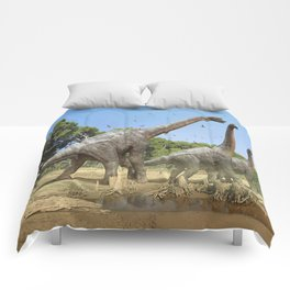 Dinosaurs walking on the river Comforters