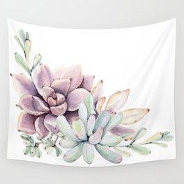 Desert Succulents on White Wall Tapestry