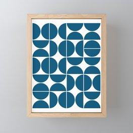 Mid Century Modern Geometric 04 Blue Framed Mini Art Print