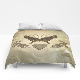 Beautiful elegant butterflies with heart Comforters