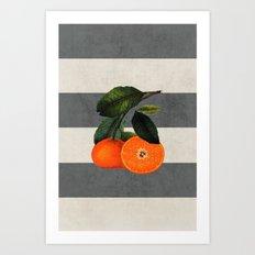 botanical stripes 6 -gray Art Print