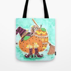 Halloween design with green background Tote Bag