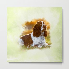 English Cocker Spaniel Dog Digital Art Metal Print