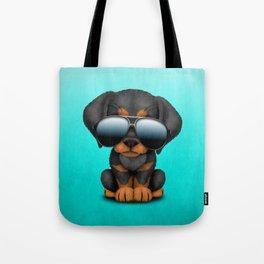 Cute Doberman Puppy Dog Wearing Sunglasses Tote Bag