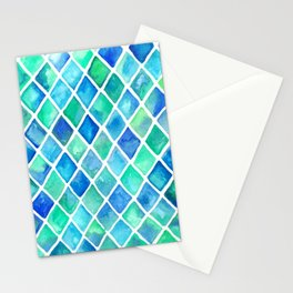 Hand Painted Cobalt Blue & Emerald Green Watercolor Pattern Stationery Cards