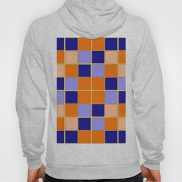 Blues and oranges check Hoody