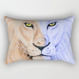 Two Face Lion Pop Rectangular Pillow
