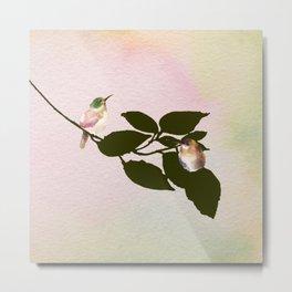 Watercolor Hummingbirds on a Branch Metal Print