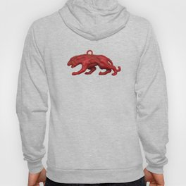 Red panther on blue grass Hoody