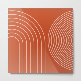 Geometric Lines in Terracotta Rose Gold 23 (Rainbow abstract) Metal Print