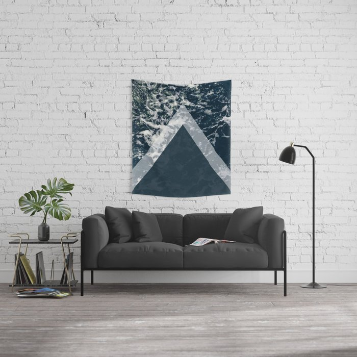 Blue sea arrows collage Wall Tapestry