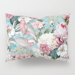 Vintage & Shabby Chic - Flower Garden Dance And Birds On Teal Pillow Sham