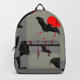 GREY ART OF FLYING BLACK BATS BLOODY  HALLOWEEN PARTY Backpack