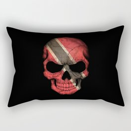 Dark Skull with Flag of Trinidad and Tobago Rectangular Pillow