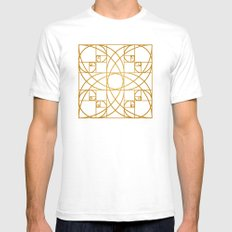 Golden Flower SMALL White Mens Fitted Tee