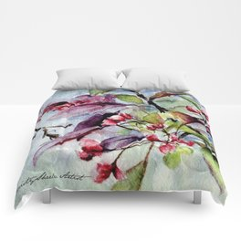 Branch With Blossoms Watercolor Comforters