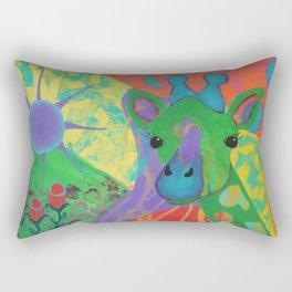 Whimsical Abstract Giraffe in Jewel Tone Colors Green Aqua Purple Blue Yellow Rectangular Pillow