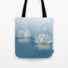 Blue Lotus and Dragonfly Tote Bag