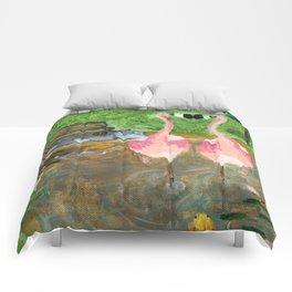 Yard Flamingo Koi Pond Comforters