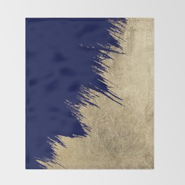 Navy blue abstract faux gold brushstrokes Throw Blanket