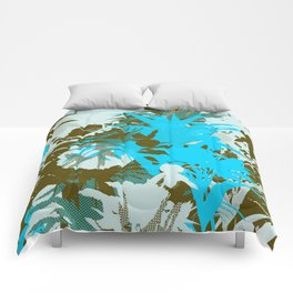 tropical silhouette with orchids and palms in sky blue Comforters
