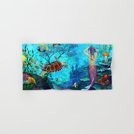 A Fish of a Different Color - Mermaid and seaturtle Hand & Bath Towel