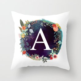 Personalized Monogram Initial Letter A Floral Wreath Artwork Throw Pillow
