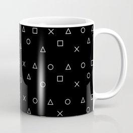 black gaming pattern - gamer design - playstation controller symbols Coffee Mug