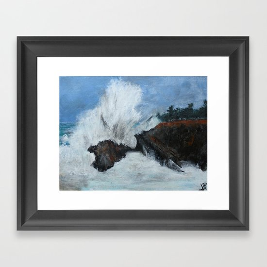 Oregon Waves Acrylic Painting Framed Art Print