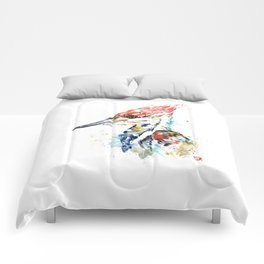 Woodpecker Colorful Watercolor Bird Painting Comforters