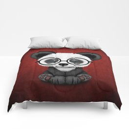 Cute Panda Bear Cub with Eye Glasses on Red Comforters