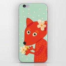 Cute Fox And Flowers iPhone & iPod Skin