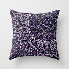 Purple, Gray, and Black Kaleidoscope 2 Throw Pillow