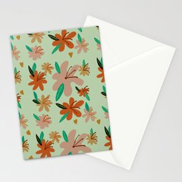 Retro Fall Flowers- Orange & Mint Stationery Cards