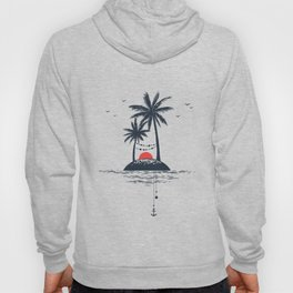 Beach. Palms. Sunset and Anchor. Geometric Style Hoody