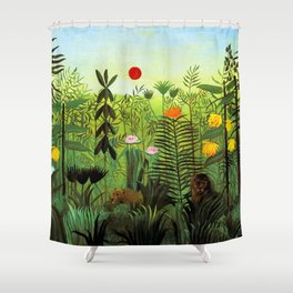 """Henri Rousseau """"Exotic Landscape with Lion and Lioness in Africa"""", 1903-1910 Shower Curtain"""