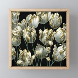 Winter Tulips in Gold. Framed Mini Art Print