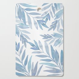 Muted Blue Palm Leaves Cutting Board